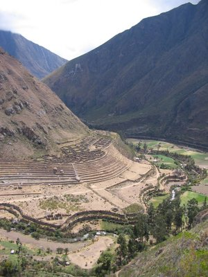 View down to the Inca ruins of Llactapata